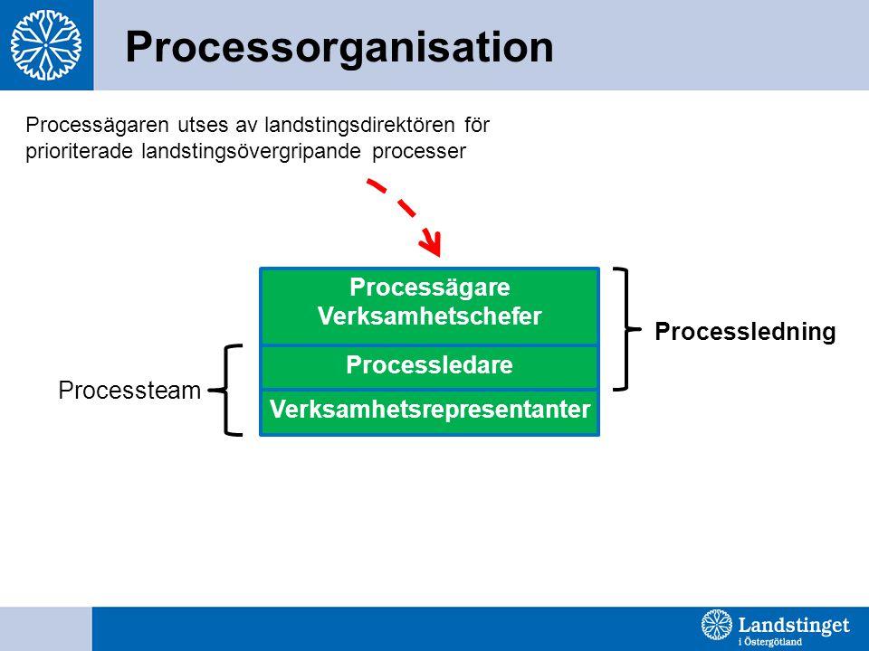 Processorganisation Processägare Verksamhetschefer Verksamhetsrepresentanter Processledare Processledning Processteam Processägaren utses av landsting