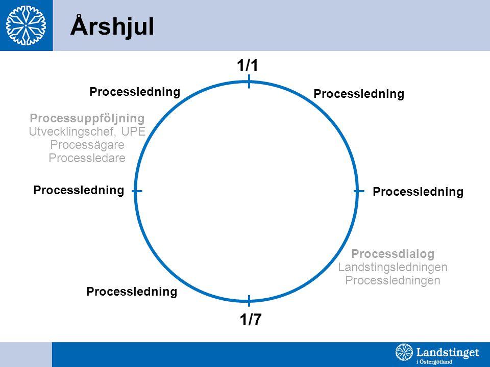 Årshjul Processledning 1/1 1/7 Processuppföljning Utvecklingschef, UPE Processägare Processledare Processledning Processdialog Landstingsledningen Pro