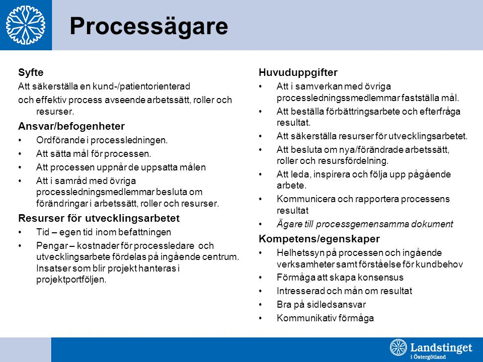 Processägare Syfte Att säkerställa en kund-/patientorienterad och effektiv process avseende arbetssätt, roller och resurser. Ansvar/befogenheter Ordfö