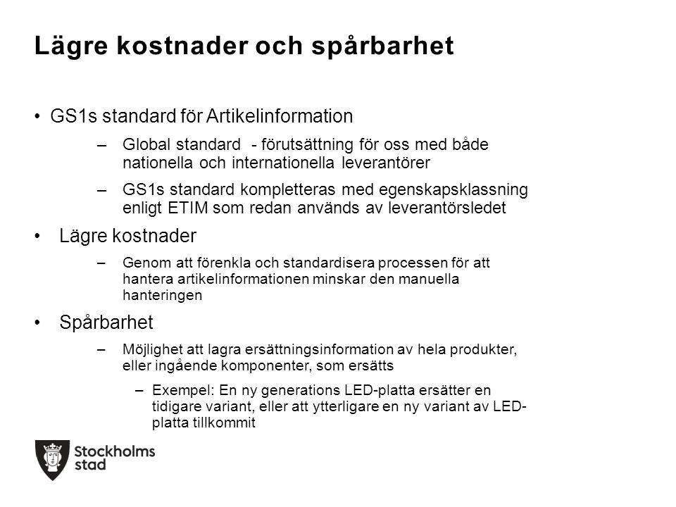 Mål Svensk tillämpning av GS1s internationella standard för Artikelinformation för belysningsartiklar Egenskapsklassning enligt ETIM Projektstart Hösten 2014 Deltagare Tillverkare, leverantörer, grossister av belysning Brukare, till exempel trafikkontoren i Stockholms och Göteborgs stad, Trafikverket och Falu kommun.