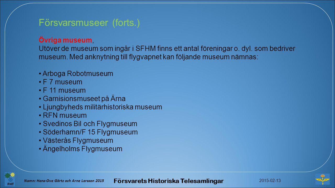 Försvarsmuseer (forts.) Övriga museum, Utöver de museum som ingår i SFHM finns ett antal föreningar o.