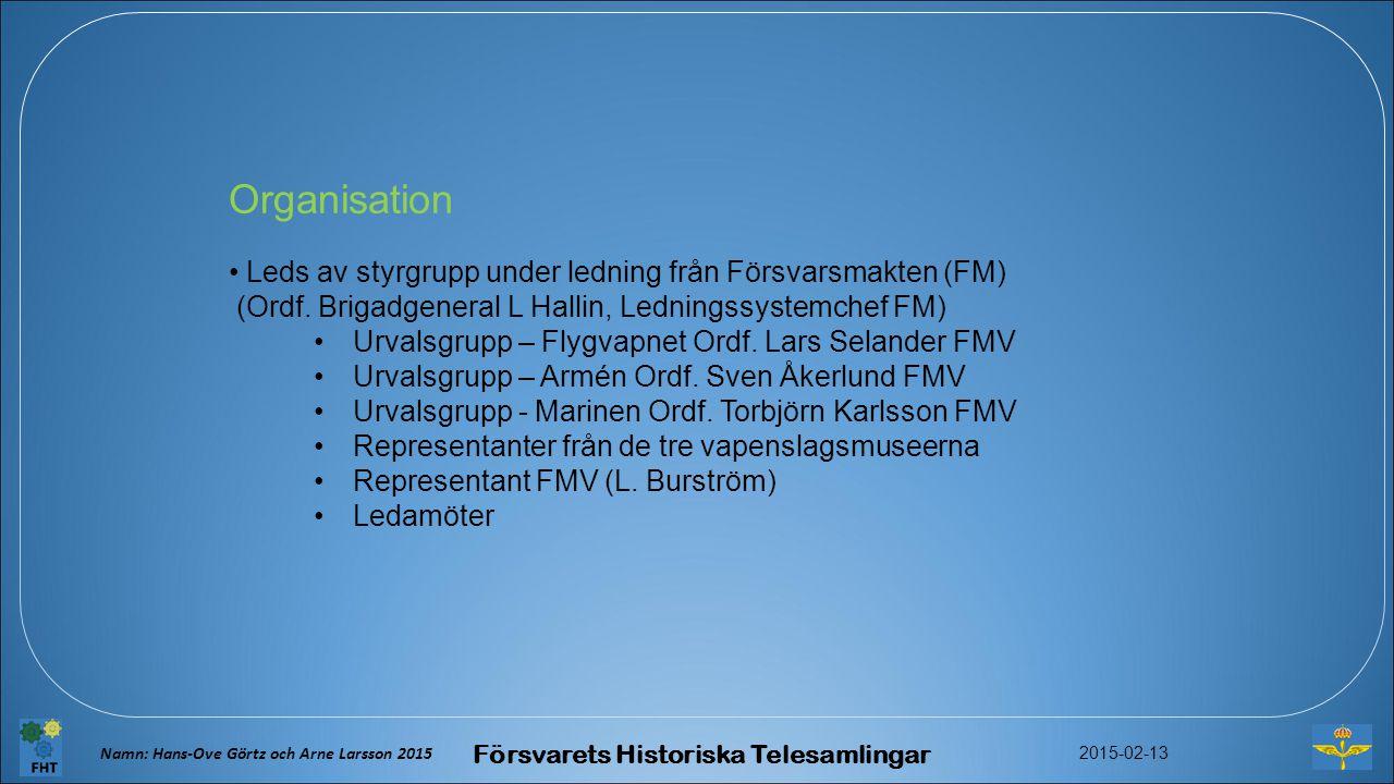 Organisation Leds av styrgrupp under ledning från Försvarsmakten (FM) (Ordf.