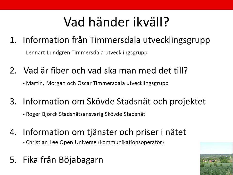 Vad händer ikväll? 1.Information från Timmersdala utvecklingsgrupp - Lennart Lundgren Timmersdala utvecklingsgrupp 2. Vad är fiber och vad ska man med