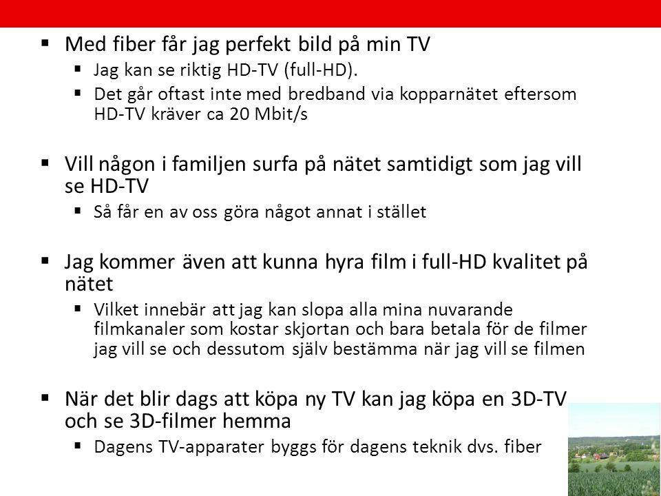  Med fiber får jag perfekt bild på min TV  Jag kan se riktig HD-TV (full-HD).  Det går oftast inte med bredband via kopparnätet eftersom HD-TV kräv