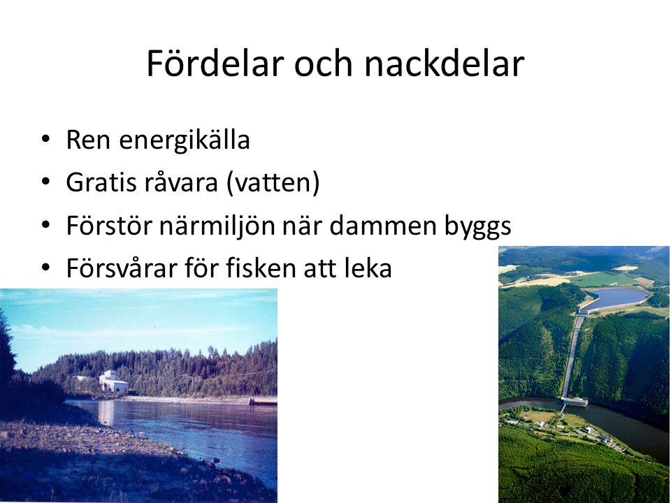 Fördelar och nackdelar Ren energikälla Gratis råvara (vatten) Förstör närmiljön när dammen byggs Försvårar för fisken att leka
