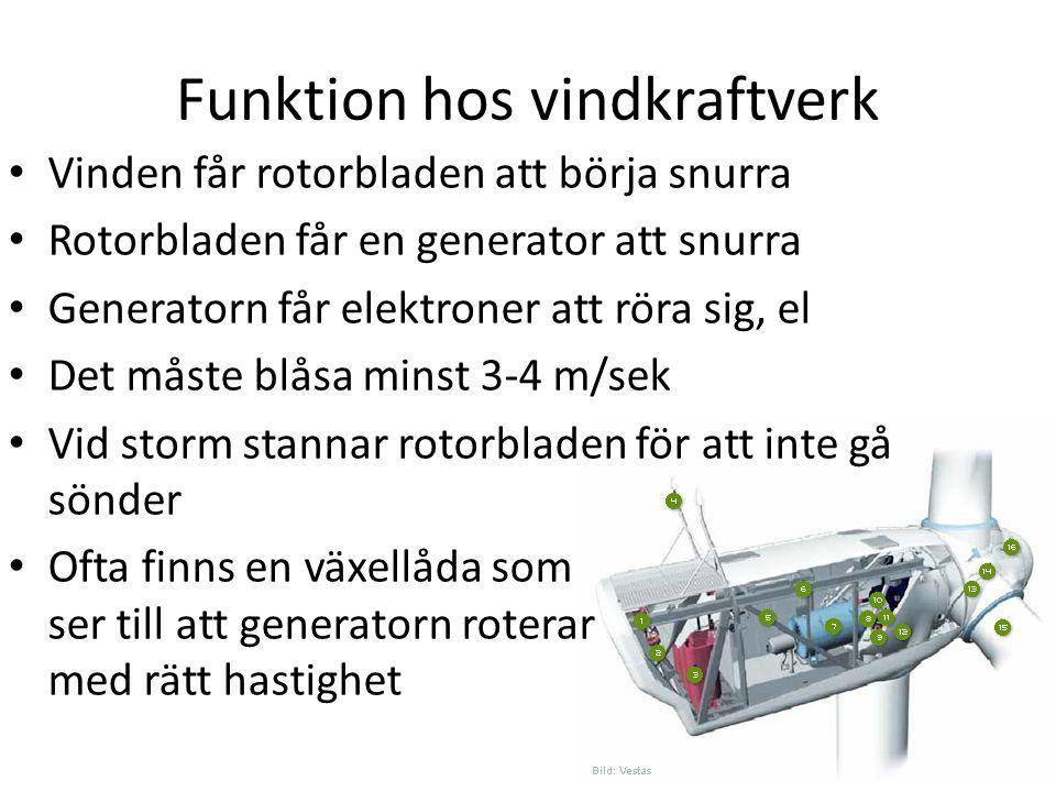 Funktion hos vindkraftverk Vinden får rotorbladen att börja snurra Rotorbladen får en generator att snurra Generatorn får elektroner att röra sig, el
