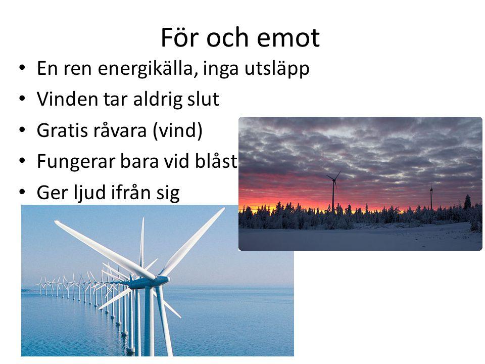 För och emot En ren energikälla, inga utsläpp Vinden tar aldrig slut Gratis råvara (vind) Fungerar bara vid blåst Ger ljud ifrån sig