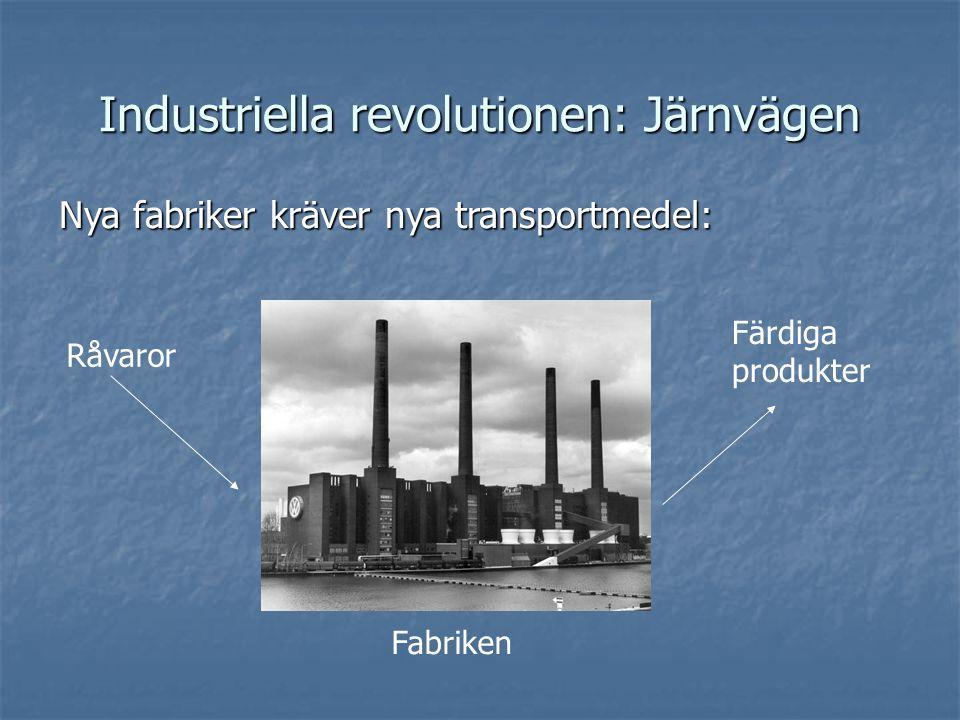 Industriella revolutionen: Järnvägen Nya fabriker kräver nya transportmedel: Råvaror Färdiga produkter Fabriken