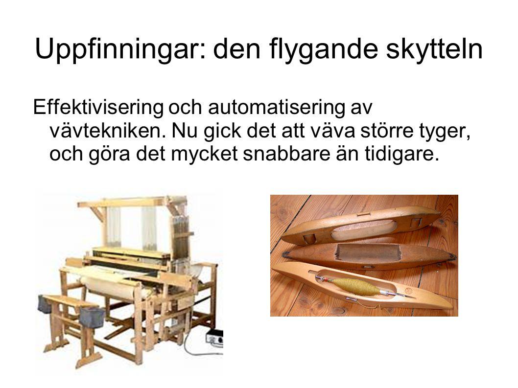 Uppfinningar: den flygande skytteln Effektivisering och automatisering av vävtekniken.
