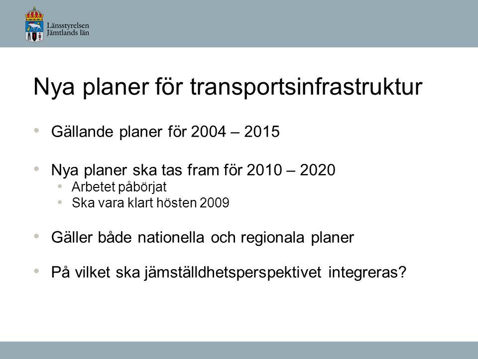 Nya planer för transportsinfrastruktur Gällande planer för 2004 – 2015 Nya planer ska tas fram för 2010 – 2020 Arbetet påbörjat Ska vara klart hösten 2009 Gäller både nationella och regionala planer På vilket ska jämställdhetsperspektivet integreras?