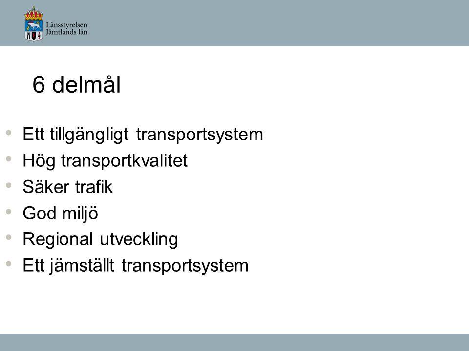 6 delmål Ett tillgängligt transportsystem Hög transportkvalitet Säker trafik God miljö Regional utveckling Ett jämställt transportsystem