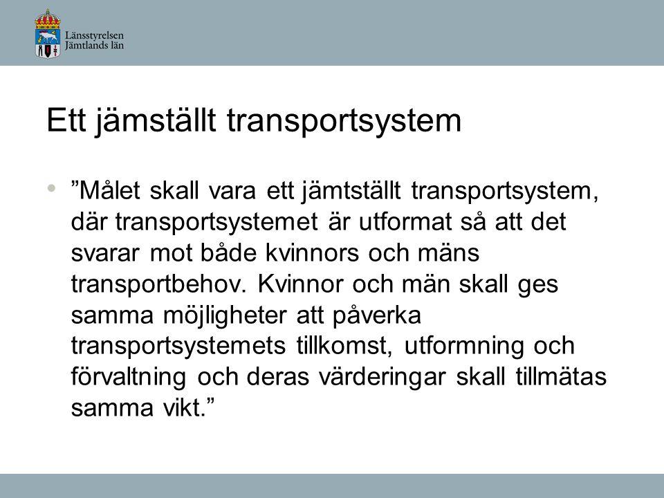 Målet skall vara ett jämtställt transportsystem, där transportsystemet är utformat så att det svarar mot både kvinnors och mäns transportbehov.