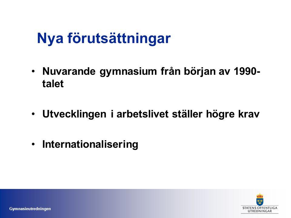 Gymnasieutredningen Nya förutsättningar Nuvarande gymnasium från början av 1990- talet Utvecklingen i arbetslivet ställer högre krav Internationaliser