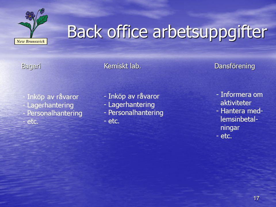 17 Back office arbetsuppgifter BageriKemiskt lab.Dansförening - Inköp av råvaror - Lagerhantering - Personalhantering - etc.