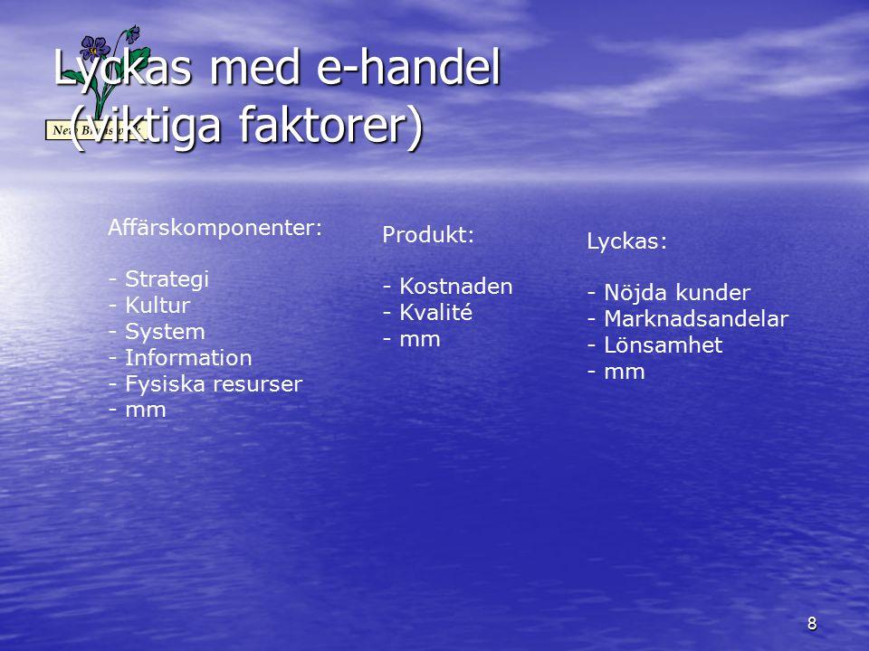 8 Lyckas med e-handel (viktiga faktorer) Affärskomponenter: - Strategi - Kultur - System - Information - Fysiska resurser - mm Produkt: - Kostnaden - Kvalité - mm Lyckas: - Nöjda kunder - Marknadsandelar - Lönsamhet - mm