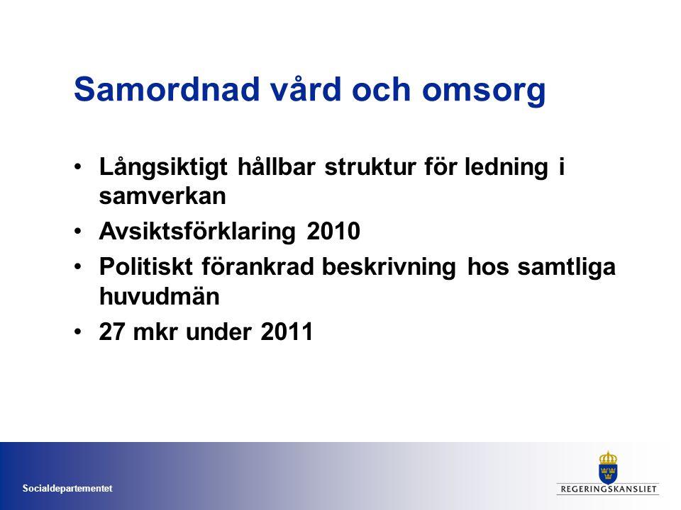 Socialdepartementet Samordnad vård och omsorg Långsiktigt hållbar struktur för ledning i samverkan Avsiktsförklaring 2010 Politiskt förankrad beskrivn