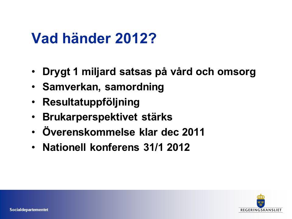 Socialdepartementet Vad händer 2012? Drygt 1 miljard satsas på vård och omsorg Samverkan, samordning Resultatuppföljning Brukarperspektivet stärks Öve