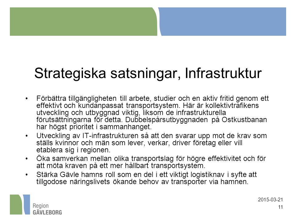 2015-03-21 11 Strategiska satsningar, Infrastruktur Förbättra tillgängligheten till arbete, studier och en aktiv fritid genom ett effektivt och kundan