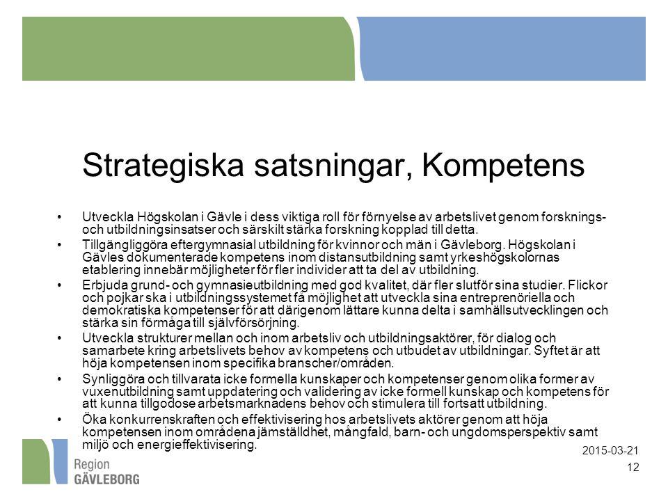2015-03-21 12 Strategiska satsningar, Kompetens Utveckla Högskolan i Gävle i dess viktiga roll för förnyelse av arbetslivet genom forsknings- och utbi