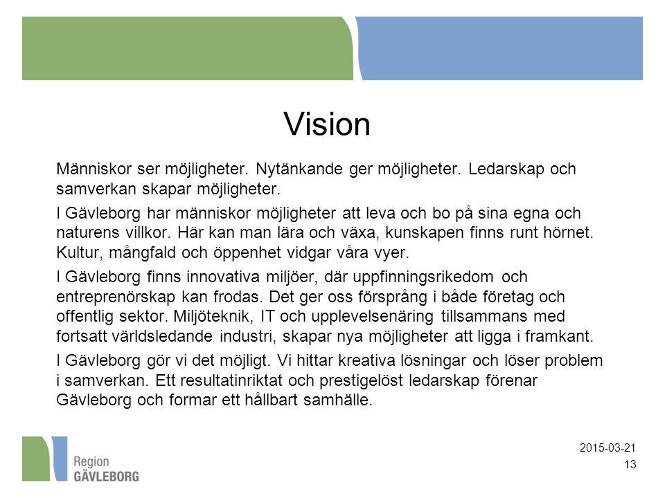 Vision Människor ser möjligheter. Nytänkande ger möjligheter. Ledarskap och samverkan skapar möjligheter. I Gävleborg har människor möjligheter att le