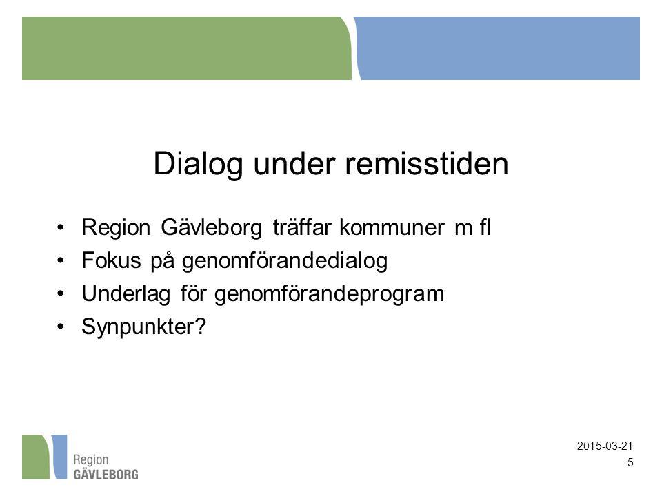 Dialog under remisstiden Region Gävleborg träffar kommuner m fl Fokus på genomförandedialog Underlag för genomförandeprogram Synpunkter? 2015-03-21 5