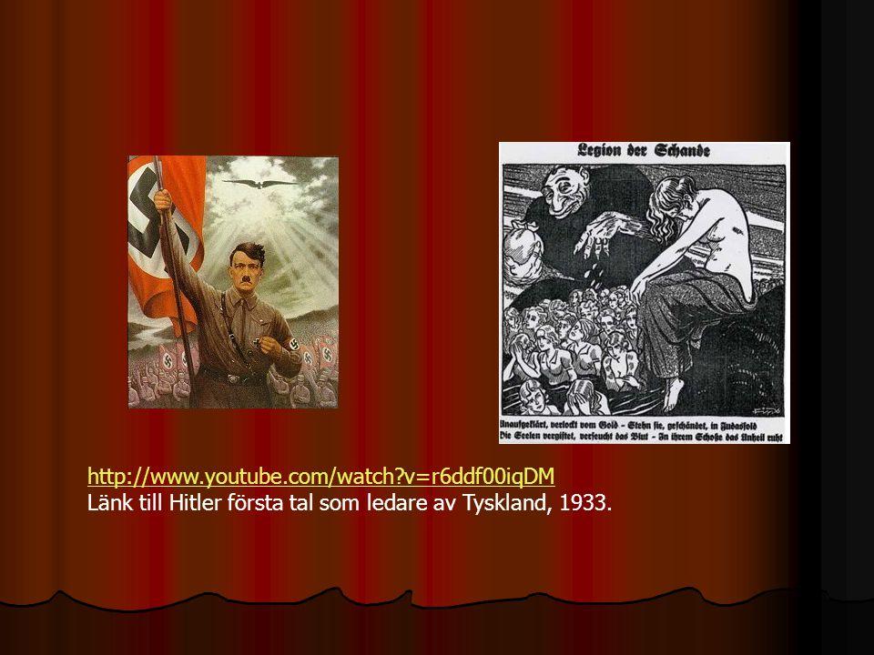 http://www.youtube.com/watch?v=r6ddf00iqDM Länk till Hitler första tal som ledare av Tyskland, 1933.