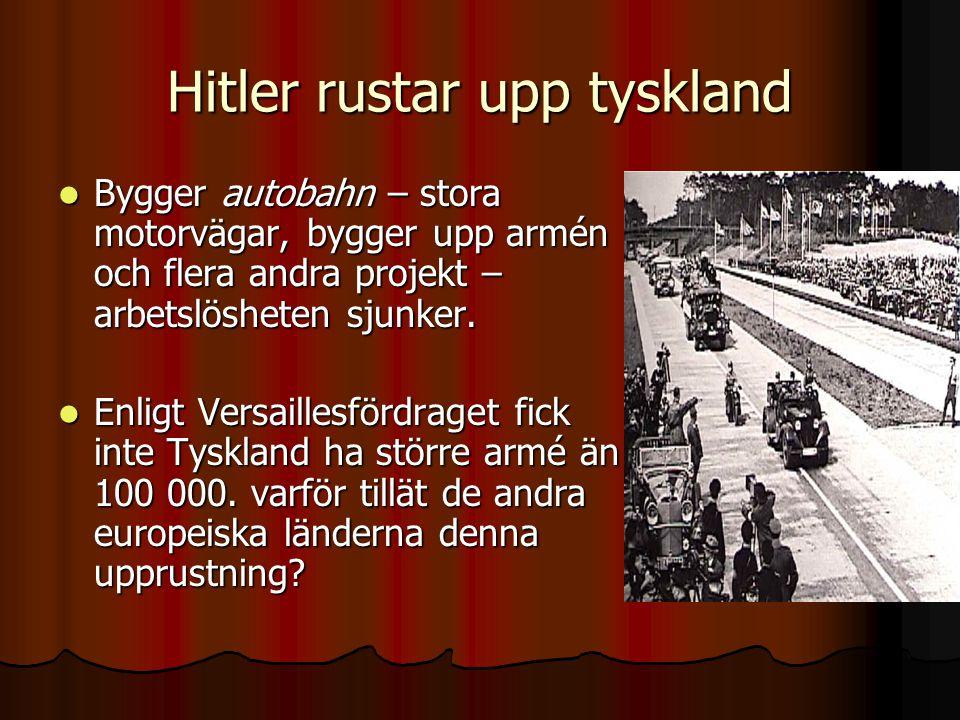 Hitler rustar upp tyskland Bygger autobahn – stora motorvägar, bygger upp armén och flera andra projekt – arbetslösheten sjunker. Bygger autobahn – st