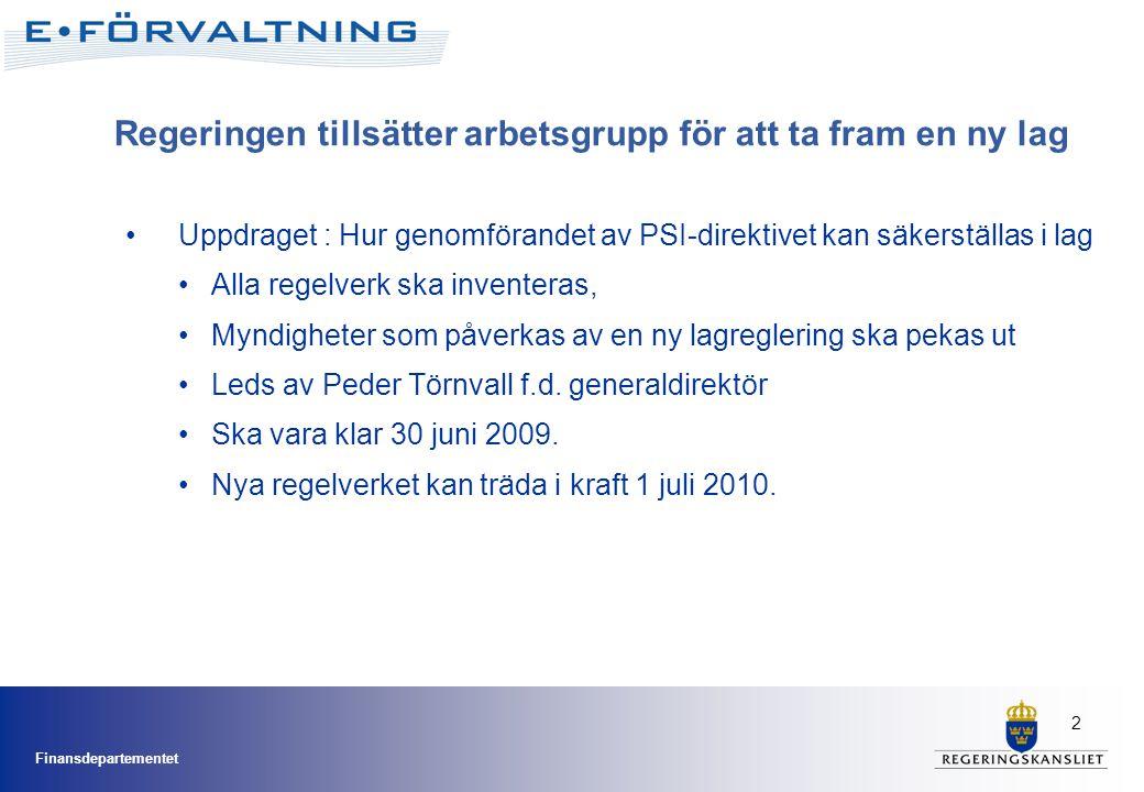 2 Uppdraget : Hur genomförandet av PSI-direktivet kan säkerställas i lag Alla regelverk ska inventeras, Myndigheter som påverkas av en ny lagreglering ska pekas ut Leds av Peder Törnvall f.d.