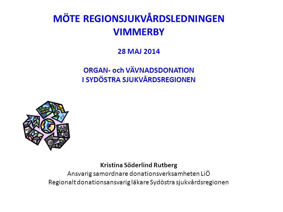 MÖTE REGIONSJUKVÅRDSLEDNINGEN NÄSSJÖ 5 NOVEMBER 2014 ORGAN- och VÄVNADSDONATION I SYDÖSTRA SJUKVÅRDSREGIONEN Kristina Söderlind Rutberg Regionalt donationsansvarig läkare Sydöstra sjukvårdsregionen