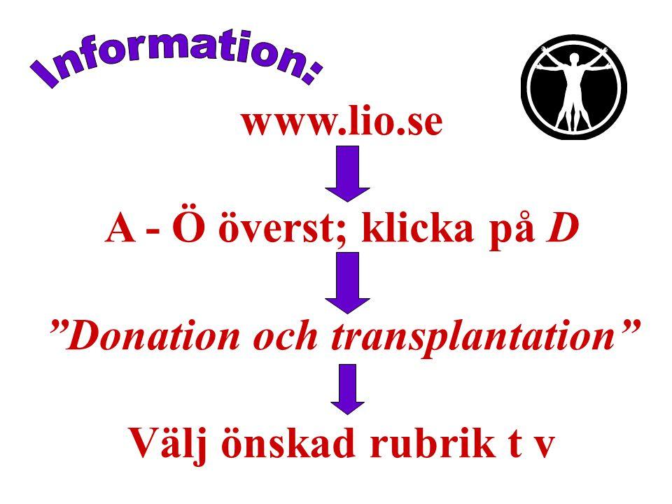 www.lio.se A - Ö överst; klicka på D Donation och transplantation Välj önskad rubrik t v