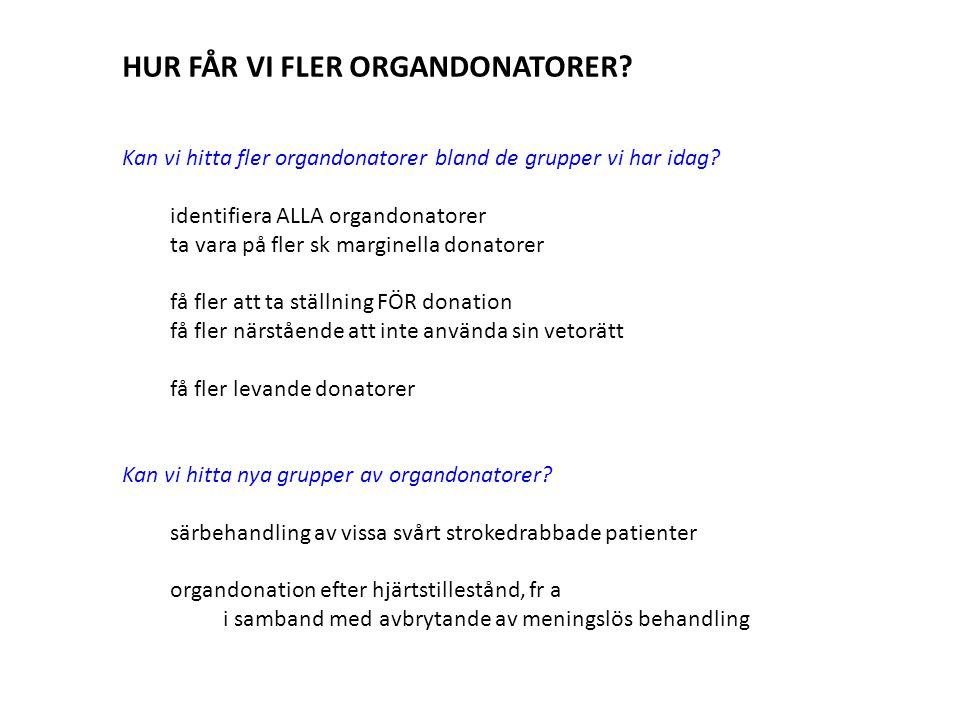 HUR FÅR VI FLER ORGANDONATORER.Kan vi hitta fler organdonatorer bland de grupper vi har idag.