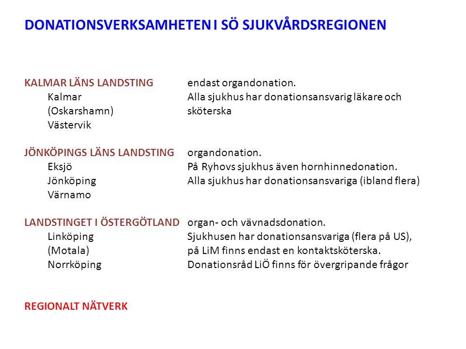 DONATIONSVERKSAMHETEN I SÖ SJUKVÅRDSREGIONEN KALMAR LÄNS LANDSTINGendast organdonation.