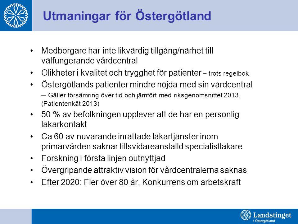 Utmaningar för Östergötland Medborgare har inte likvärdig tillgång/närhet till välfungerande vårdcentral Olikheter i kvalitet och trygghet för patient