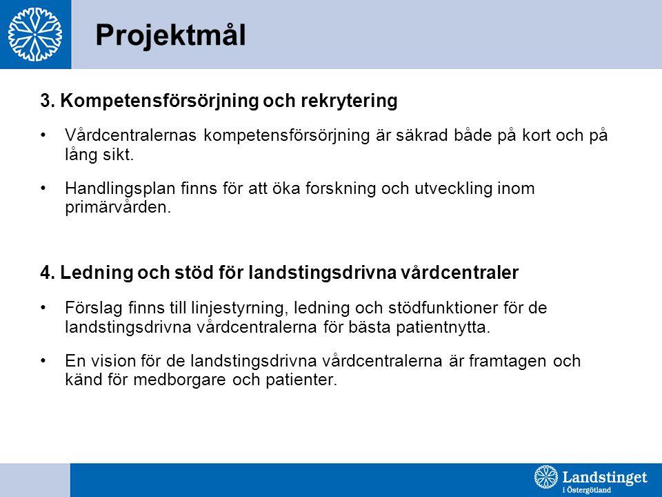 Projektmål 3. Kompetensförsörjning och rekrytering Vårdcentralernas kompetensförsörjning är säkrad både på kort och på lång sikt. Handlingsplan finns