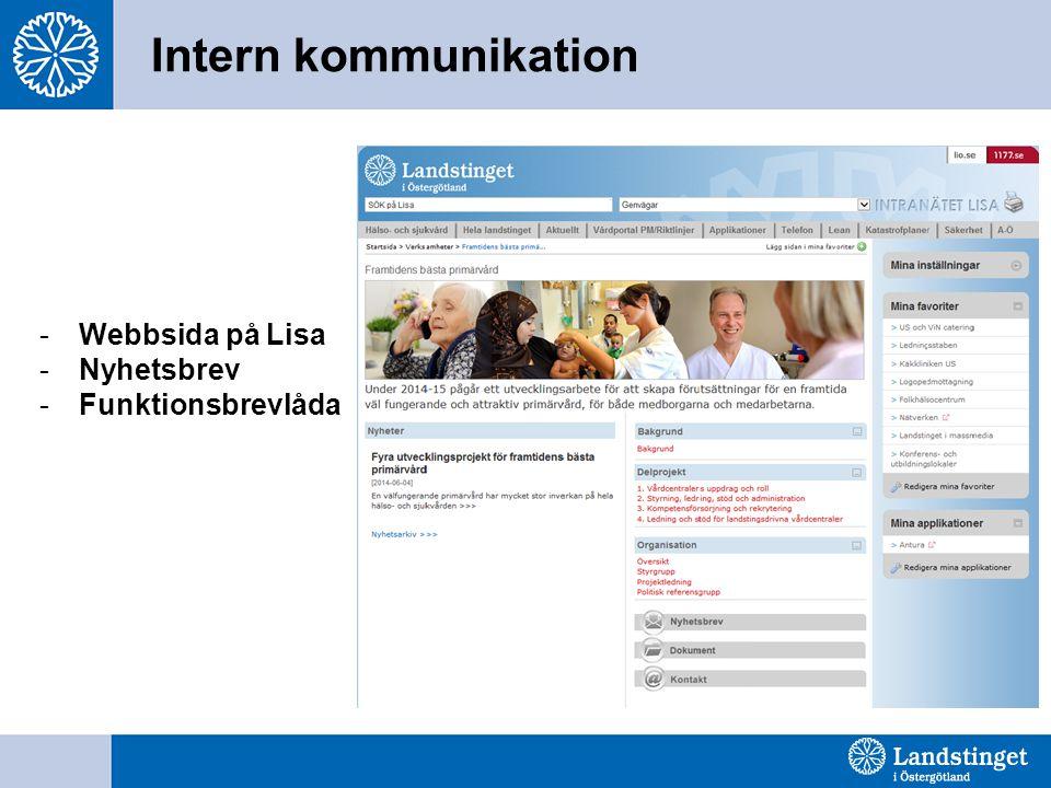Intern kommunikation -Webbsida på Lisa -Nyhetsbrev -Funktionsbrevlåda