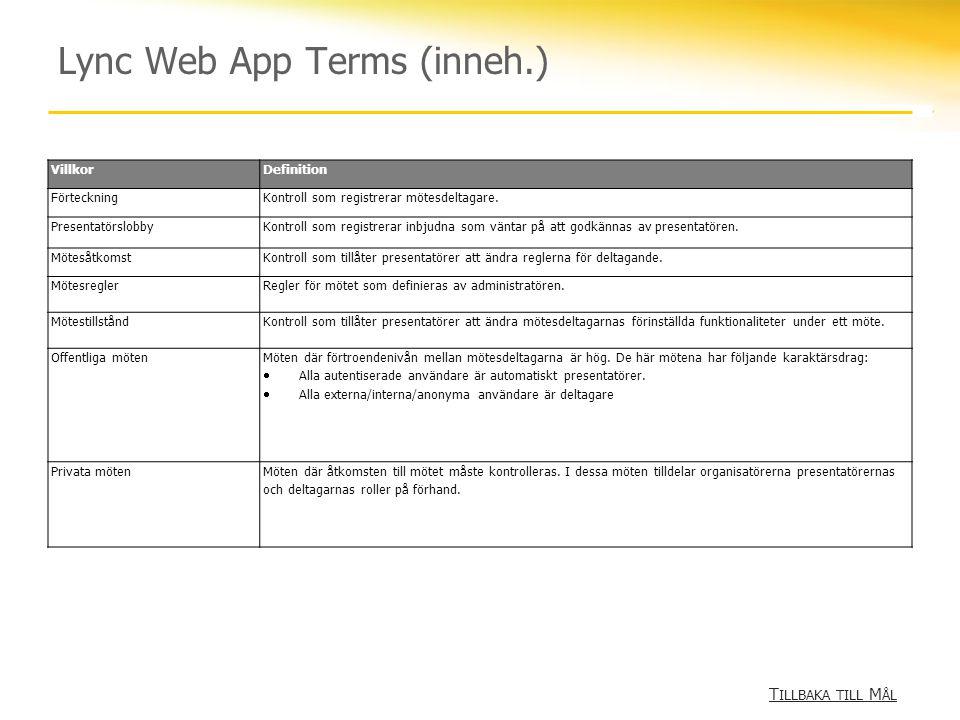 Lync Web App Terms (inneh.) T ILLBAKA TILL M ÅL T ILLBAKA TILL M ÅL VillkorDefinition FörteckningKontroll som registrerar mötesdeltagare.