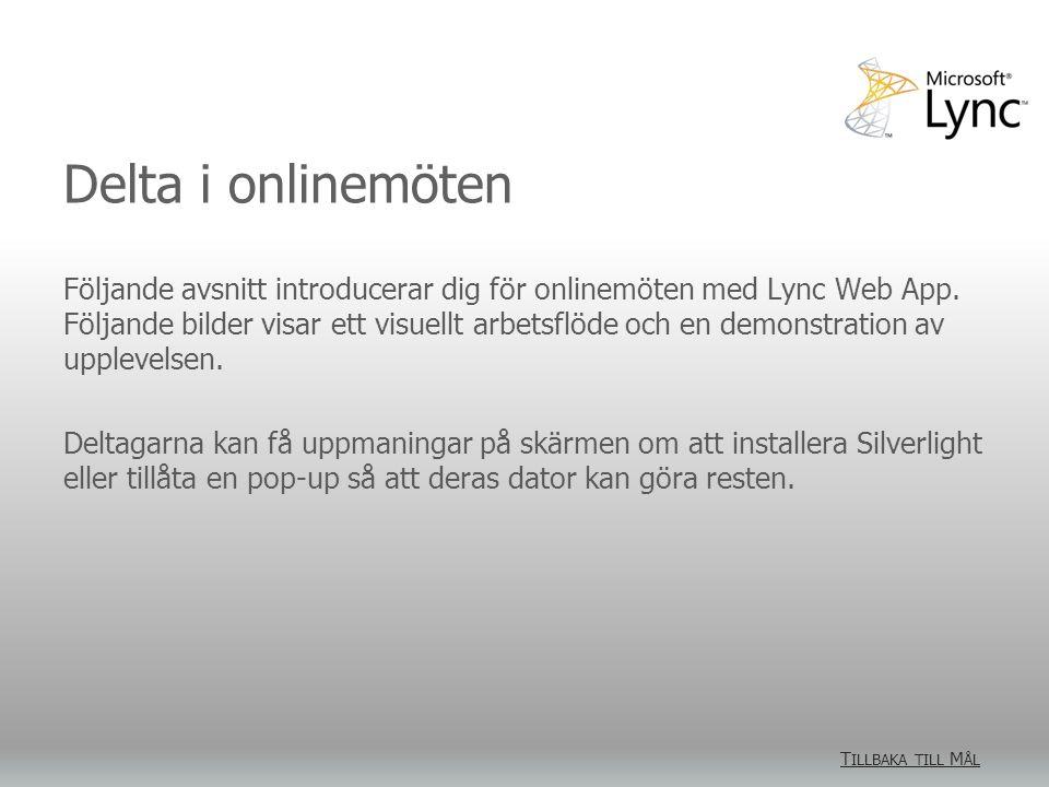 Delta i onlinemöten Följande avsnitt introducerar dig för onlinemöten med Lync Web App.