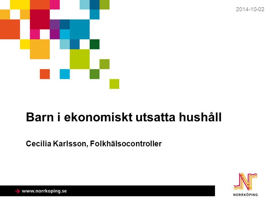 Barn i ekonomiskt utsatta hushåll Norrköping, jämförda kommuner och riket