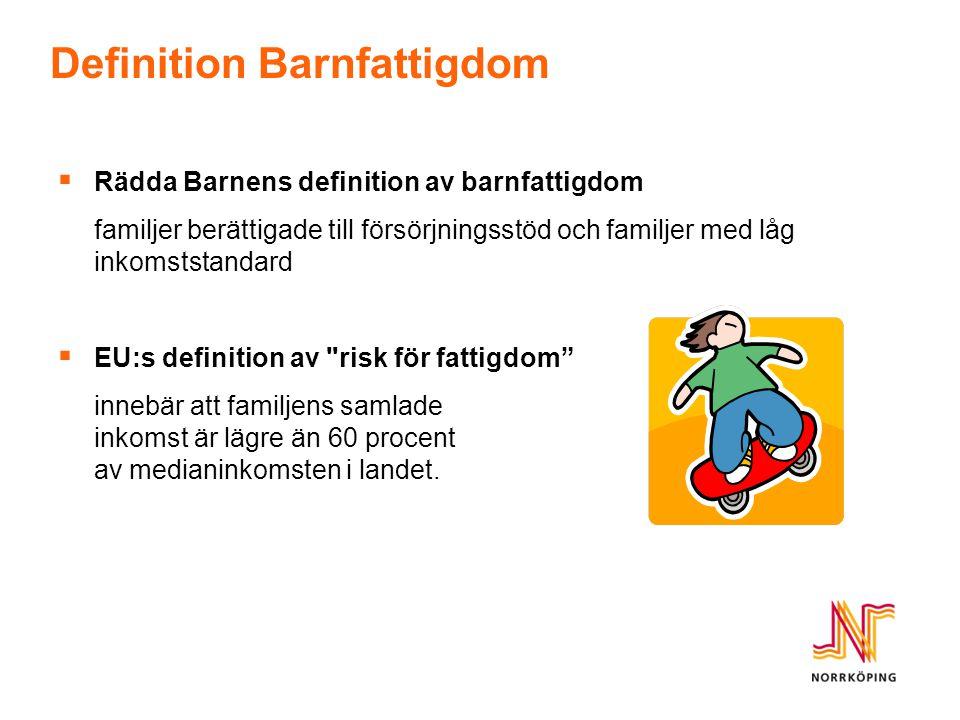 Barn i ekonomiskt utsatta hushåll Andel (%) barnfamiljer i ekonomiskt utsatta hushåll med barn under 18 år i Norrköpings kommun Totalt bor 26 534 barn i Norrköping