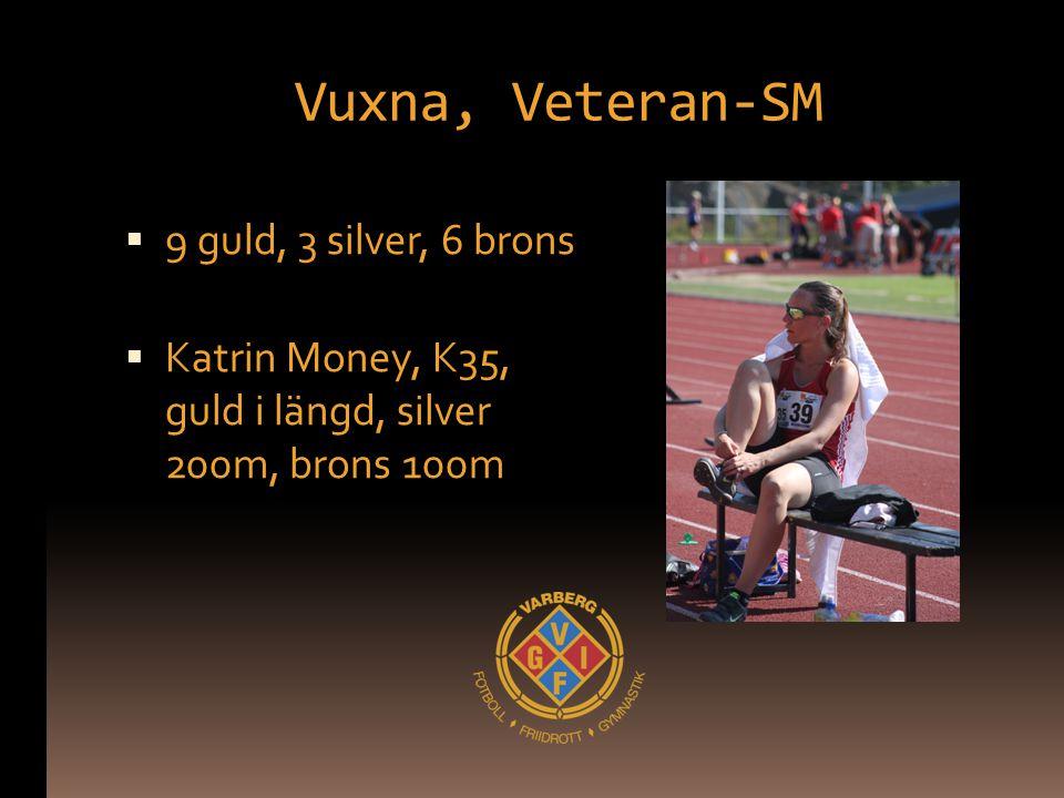 Vuxna, Veteran-SM  9 guld, 3 silver, 6 brons  Katrin Money, K35, guld i längd, silver 200m, brons 100m