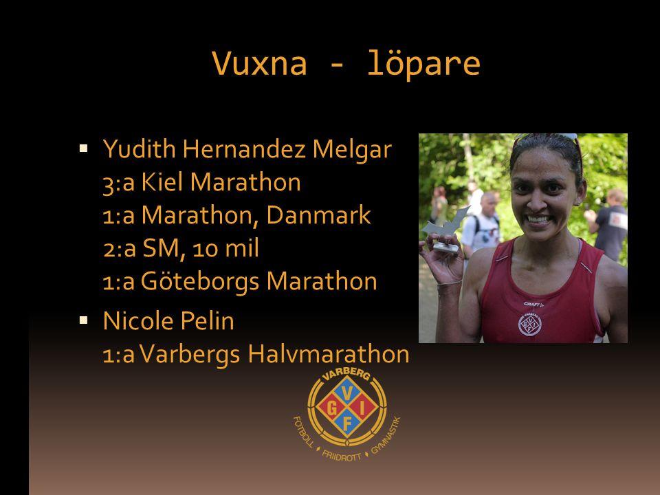 Vuxna - löpare  Yudith Hernandez Melgar 3:a Kiel Marathon 1:a Marathon, Danmark 2:a SM, 10 mil 1:a Göteborgs Marathon  Nicole Pelin 1:a Varbergs Hal