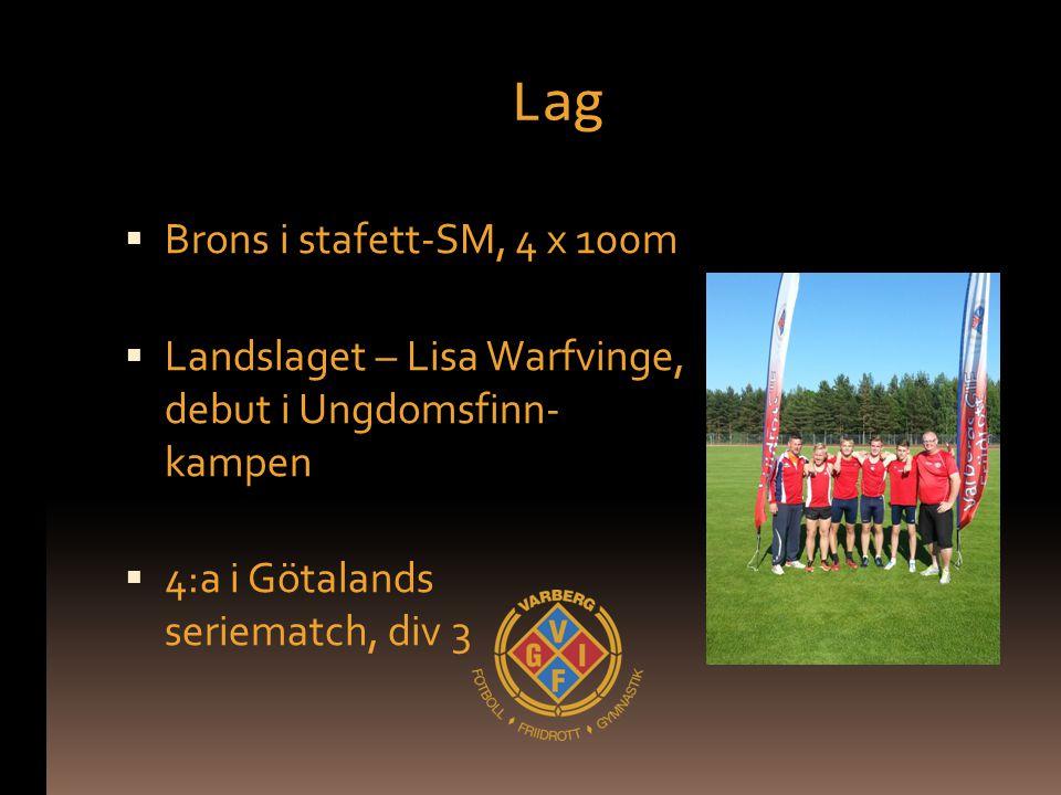 Lag  Brons i stafett-SM, 4 x 100m  Landslaget – Lisa Warfvinge, debut i Ungdomsfinn- kampen  4:a i Götalands seriematch, div 3