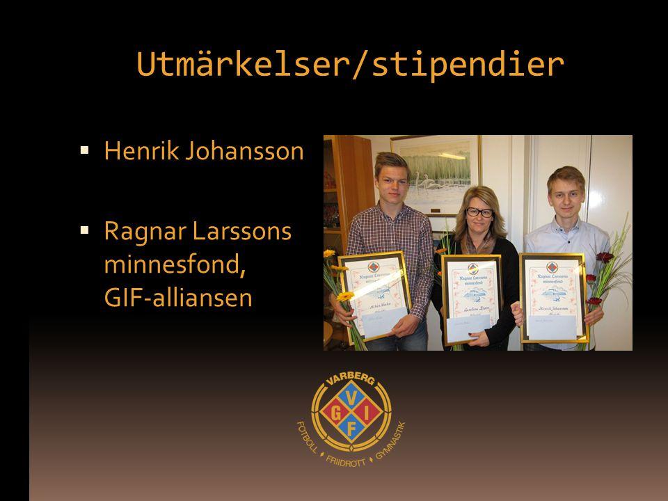 Utmärkelser/stipendier  Henrik Johansson  Ragnar Larssons minnesfond, GIF-alliansen