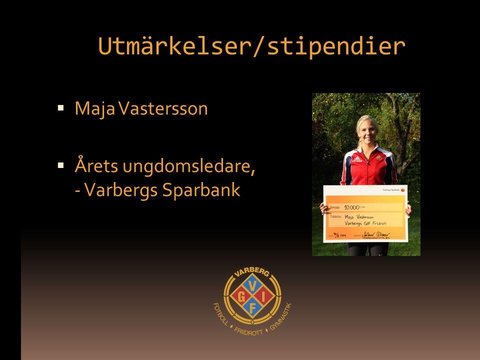 Utmärkelser/stipendier  Maja Vastersson  Årets ungdomsledare, - Varbergs Sparbank