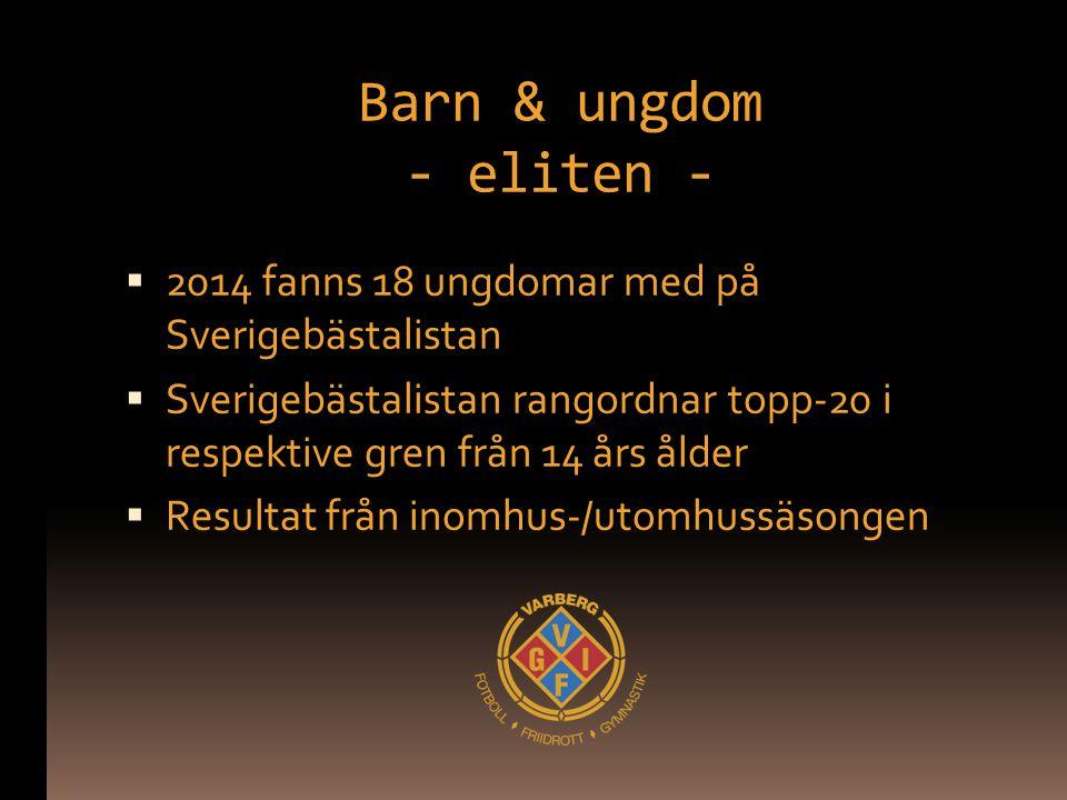 Barn & ungdom - eliten -  2014 fanns 18 ungdomar med på Sverigebästalistan  Sverigebästalistan rangordnar topp-20 i respektive gren från 14 års ålder  Resultat från inomhus-/utomhussäsongen