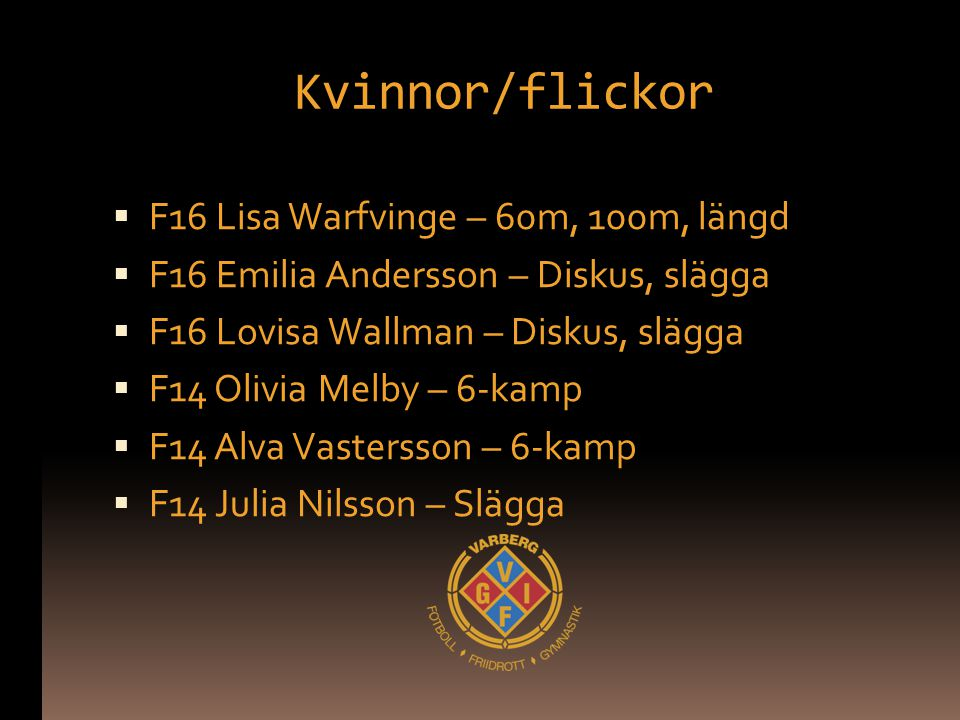 Kvinnor/flickor  F16 Lisa Warfvinge – 60m, 100m, längd  F16 Emilia Andersson – Diskus, slägga  F16 Lovisa Wallman – Diskus, slägga  F14 Olivia Mel