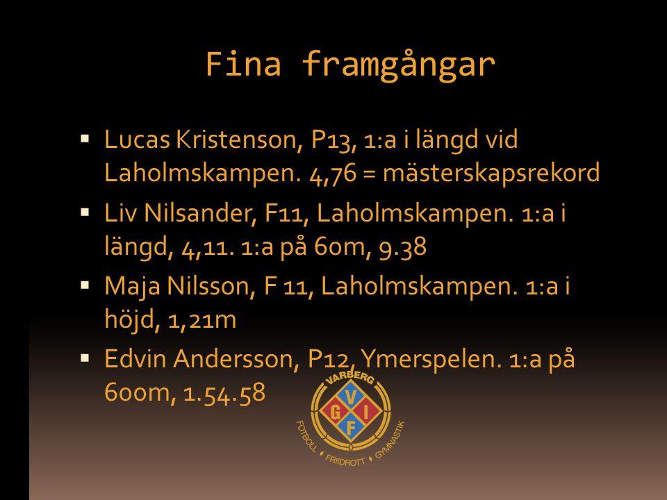 Fina framgångar  Lucas Kristenson, P13, 1:a i längd vid Laholmskampen. 4,76 = mästerskapsrekord  Liv Nilsander, F11, Laholmskampen. 1:a i längd, 4,1