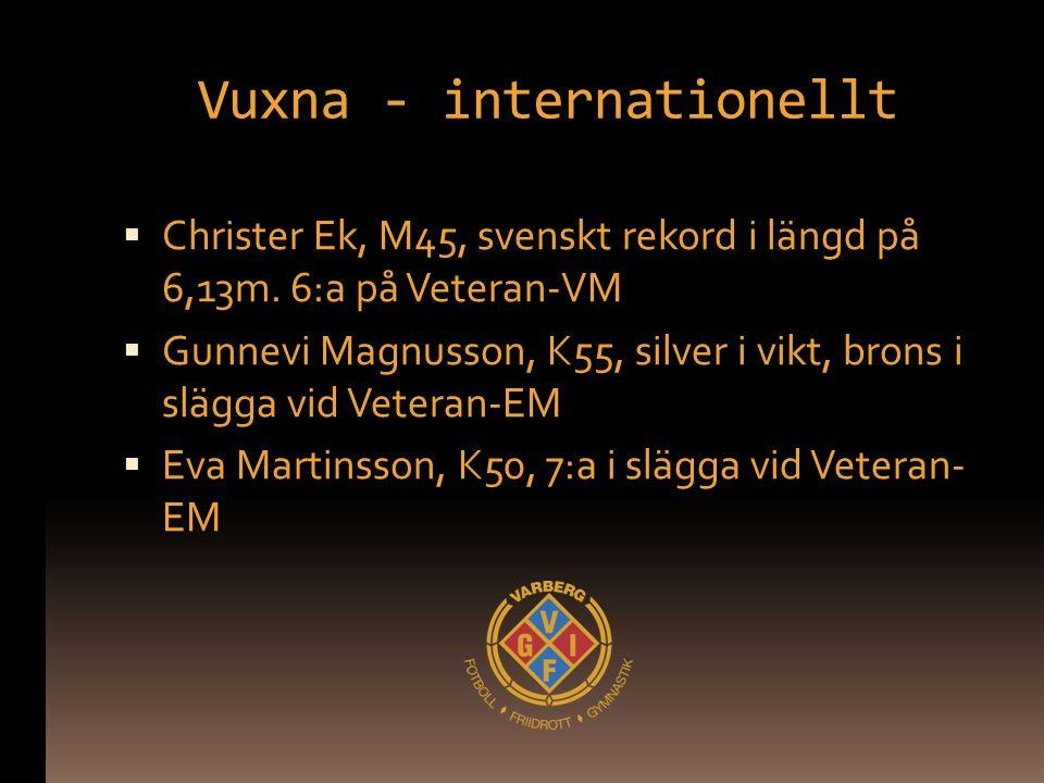 Vuxna - internationellt  Christer Ek, M45, svenskt rekord i längd på 6,13m. 6:a på Veteran-VM  Gunnevi Magnusson, K55, silver i vikt, brons i slägga