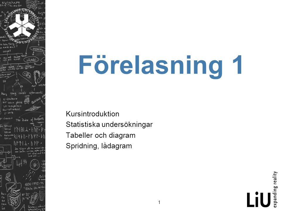 1 Förelasning 1 Kursintroduktion Statistiska undersökningar Tabeller och diagram Spridning, lådagram