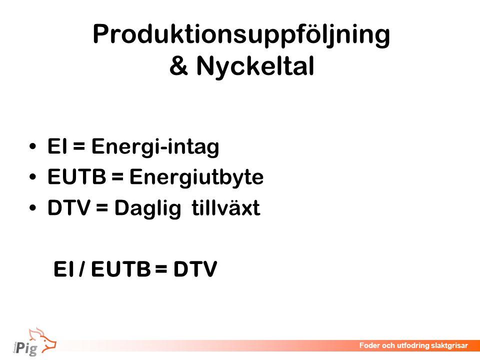 Föreläsningsrubrik / temaFoder och utfodring slaktgrisar Produktionsuppföljning & Nyckeltal EI = Energi-intag EUTB = Energiutbyte DTV = Daglig tillväx